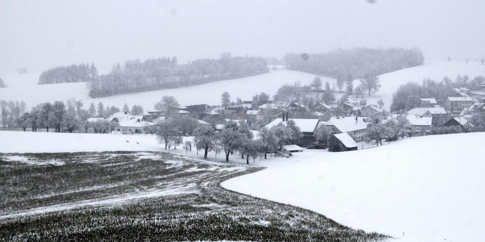 Erster Schnee 2021 in Krenglbach